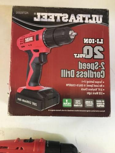 """3/8"""" Cordless Driver 20V 2-Speed Adjustable Torque+ Battery Charger"""