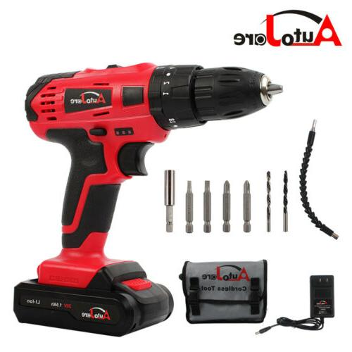 "3/8"" cordless drill set driver with battery and charger powe"