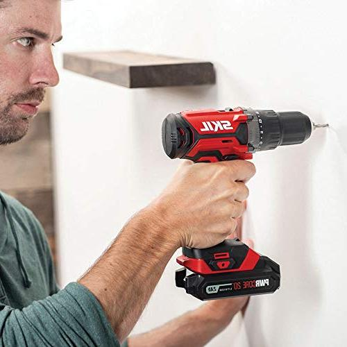 SKIL Cordless Drill Impact Driver and PWRAssist Charging Adaptor, 2.0Ah Lithium Battery and Charger - CB739101