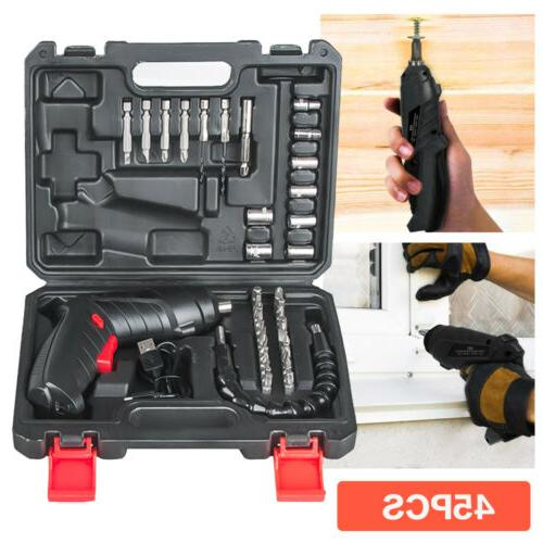 45pcs cordless electric screwdriver rechargeable drill kit