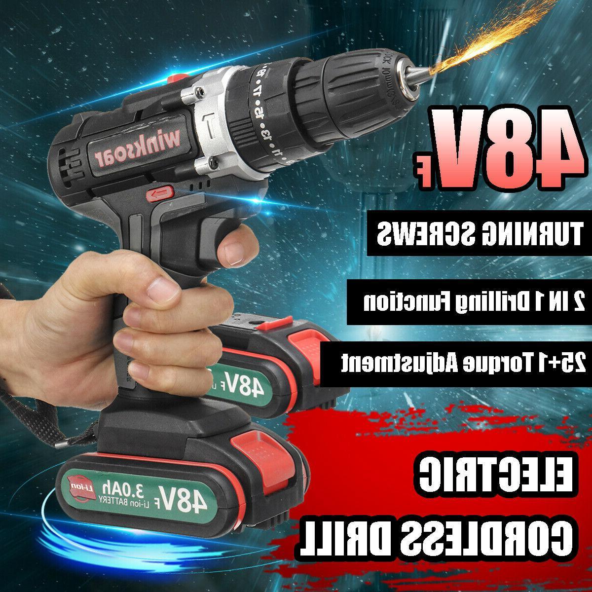 48vf electric cordless drill driver kit led