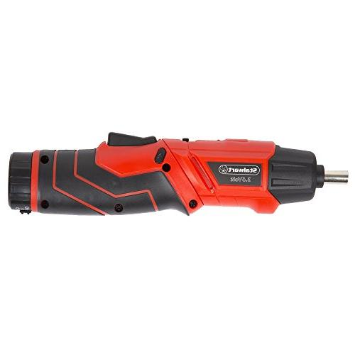 Pivoting Screwdriver 45 Set-Pivoting Cordless Power Tool with Rechargeable 3.6V Battery, LED and Case
