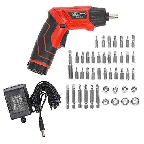 Pivoting 45 Pc. Set-Pivoting Cordless Power Tool with Rechargeable 3.6V Battery, and Case