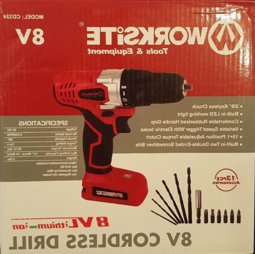 8v electric cordless drill screwdriver with 1300ma
