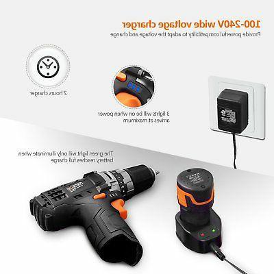 Tacklife 12V Lithium-Ion Cordless Drill/Driver 3/8-inch