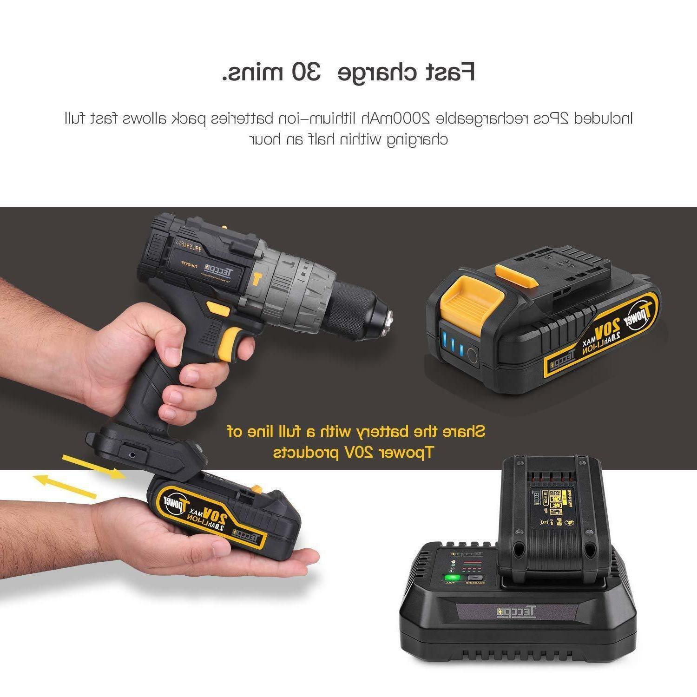 TECCPO Drill 2pcs Batteries,