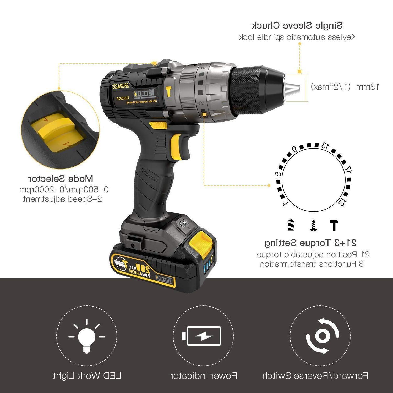 Brushless Drill/Driver TECCPO Cordless 2pcs