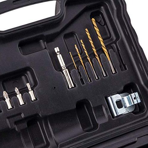 CACOOP 20V Drill/Driver With 20V Battery pack, 1 Rapid wood Screwdriver Magnetic bit 1 Belt