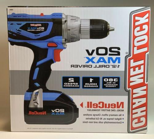 "Channel Lock 20V 1/2"" Driver, Battery Drill"