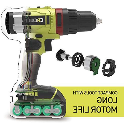 CACOOP Brushless Drill/Driver All Metal Keyless 2-Variable Compact, 1)2.0Ah Li-Ion Charger, bit&6)Screw