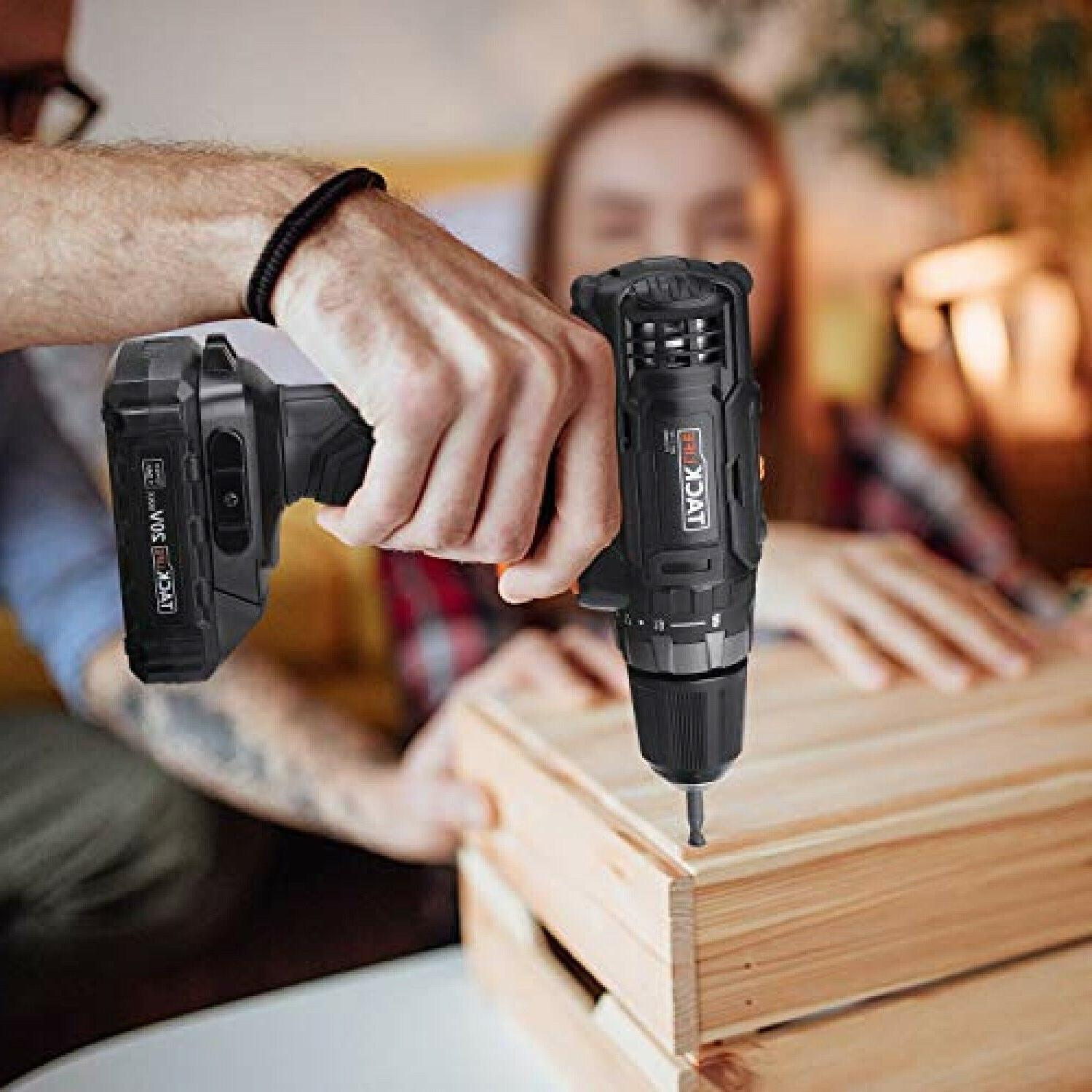 Cordless Drill, Drill Lithium-Ion Battery with Hammer Action