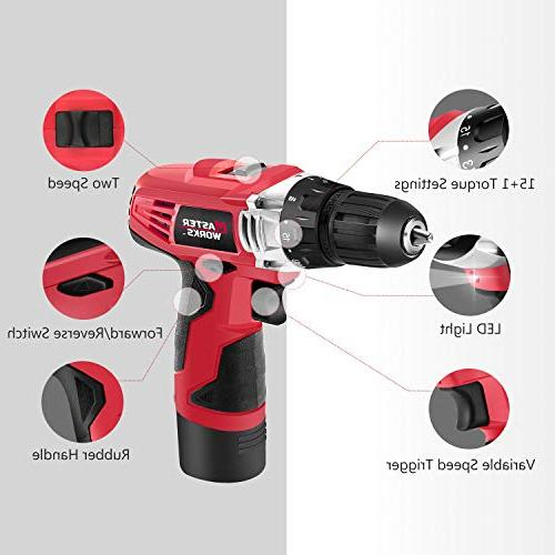 12V Cordless Drill, Power Drill with PACKS of Keyless 16 Position and Light, Included,