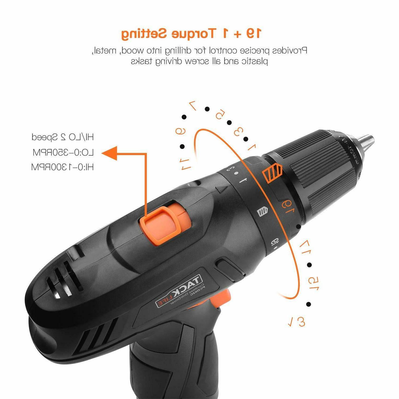 Cordless Drill, Drill Driver Set 2000mAh Li-on 12V