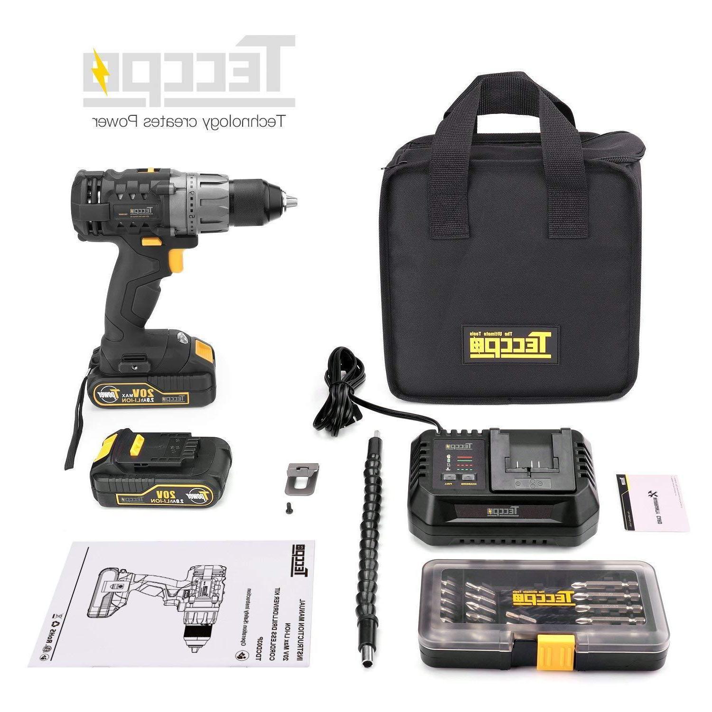 Cordless 20V TECCPO 530 Power Drill with 2pcs 2.0Ah Bat