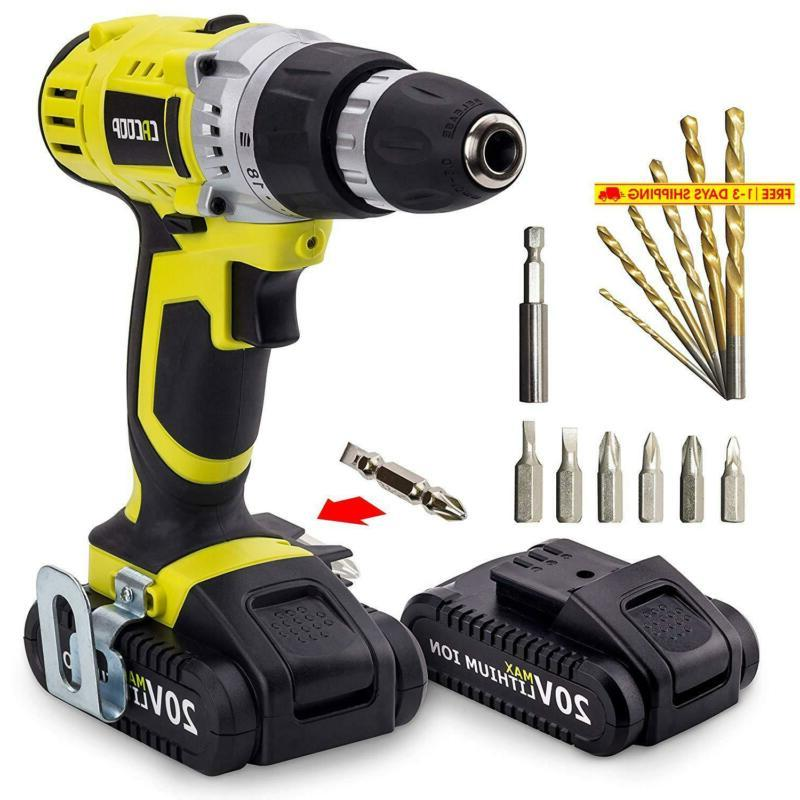 cordless drill driver set with two 20v