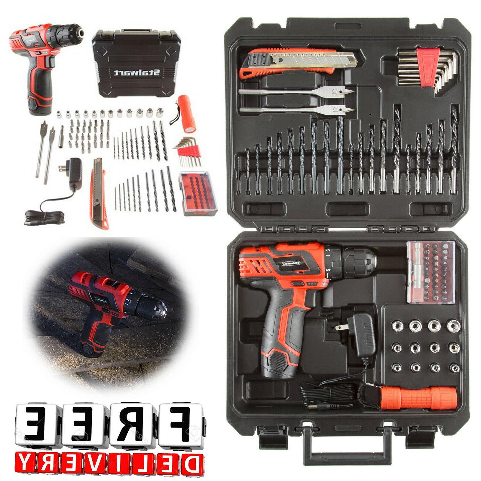 Cordless Drill Set 12V 75Pc Kit Case Battery Portable Driver