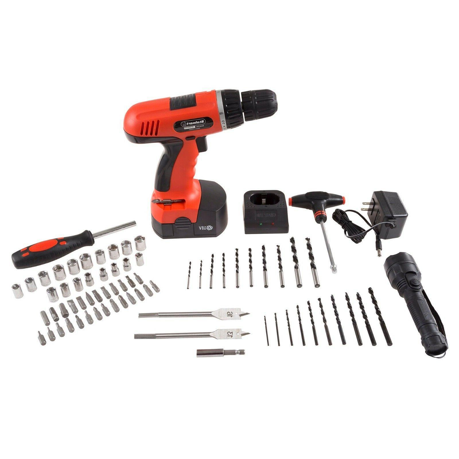 cordless drill set battery 78 piece kit