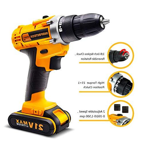 Inspiritech Drill/Driver 2 Lithium Ion Batteries Speed 16 Positions, Front LED Light,12
