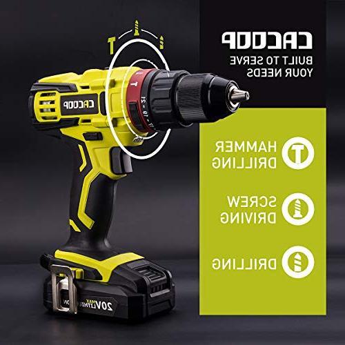 "CACOOP 20V Hammer Included MAX 2.0Ah charger, & 1)2"" Holder"