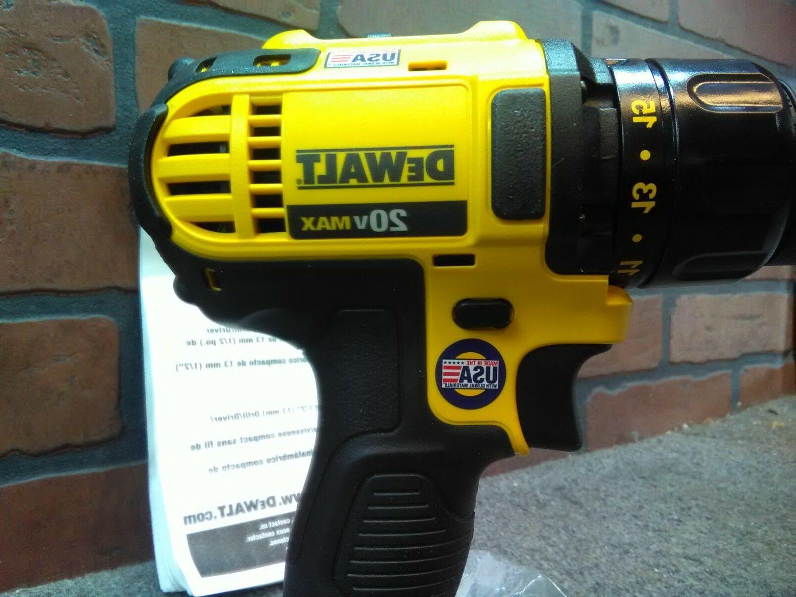 """Dewalt 20V MAX 1/2"""" Drill Driver W/Belt Clip-***NEW***"""