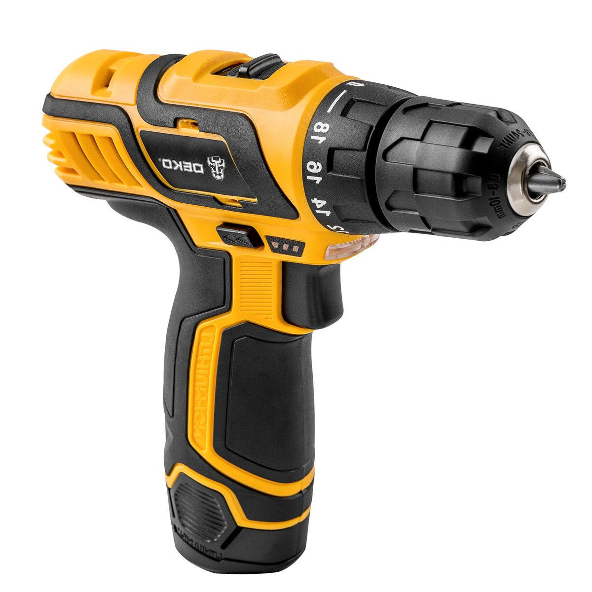 "DEKO 3/8"" 12V Lithium-Ion Battery Cordless 2-Speed Drill Ele"