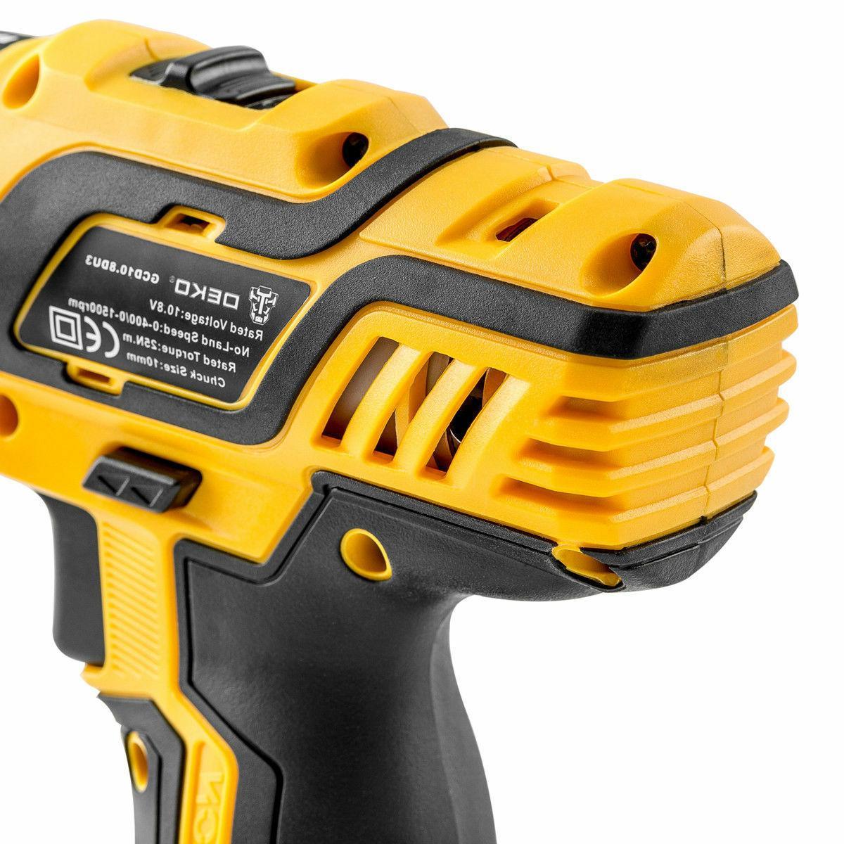 "DEKO 12V Battery 18+1 3/8"" Electric Cordless 2-Speed"