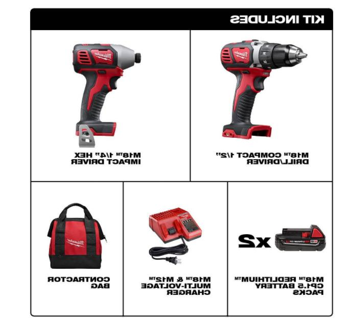 Milwaukee Kit Cordless Drill Driver Combo 2 Tool With Bag