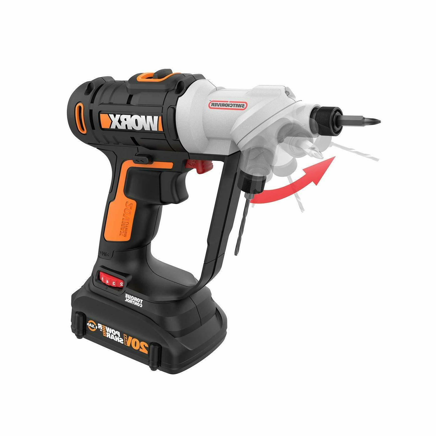 Cordless Drill Screw Driver Dual Chucks Power Hand Work Tool