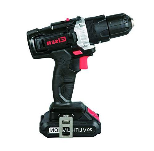 Eisen 20V Impact Drill 2-Speed Position LED 1.5Ah and Charger & 40 Piece and Screwdriver Bit Compact Storage