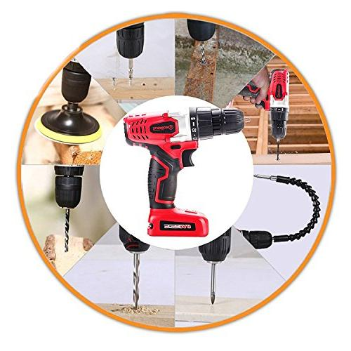 WORKSITE Electric Drill Lithium-Ion Battery, Keyless Clutch, Variable Speed Switch, Lightweight, Built-in LED Light, Pcs Set, Magnet Wristband