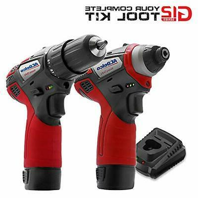 """ACDelco G12 1/4"""" & 3/8"""" 3 Tool Combo Kit 2 Batteries"""
