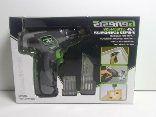 Genesis 2-Speed Screwdriver, Grey, chuck with Trigger Activated LED and Accessory Drill