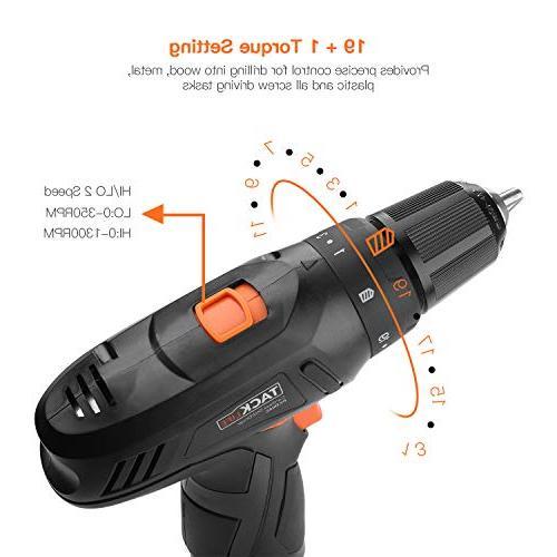 Drill, 2000mAh Li-on 2-Speed Metal Chuck 220 Setting DIY,PCD02C