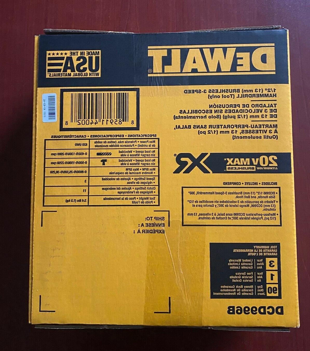 NEW DeWalt DCD996B Max XR Brushless 1/2