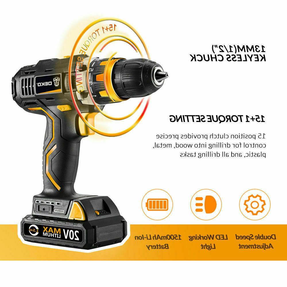 20V Cordless Drill/Driver 1/2-inch Chuck Max Torque