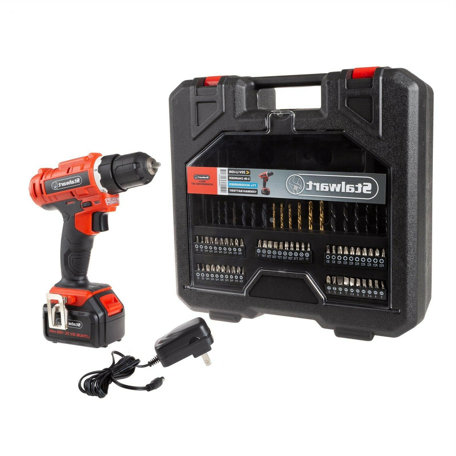 professional 20v cordless drill kit with assorted