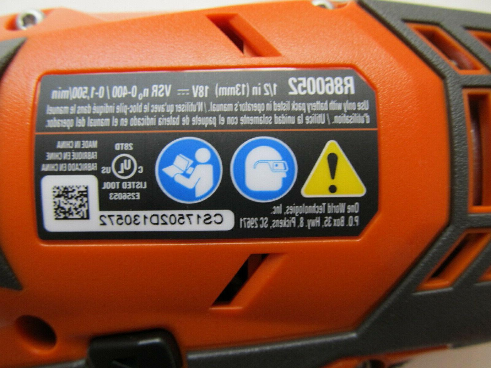 Ridgid R860052 Cordless 1/2 in. Compact Drill/Driver NEW