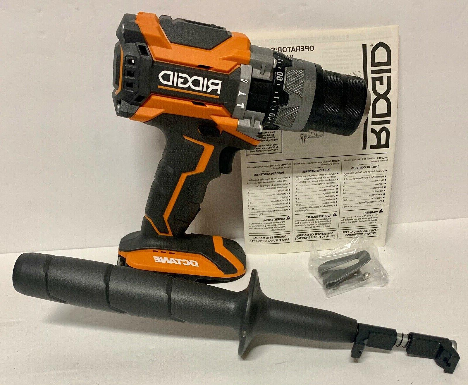 RIDGID R8611506 18V OCTANE Brushless Cordless 2-Speed Hammer Drill-TOOL ONLY