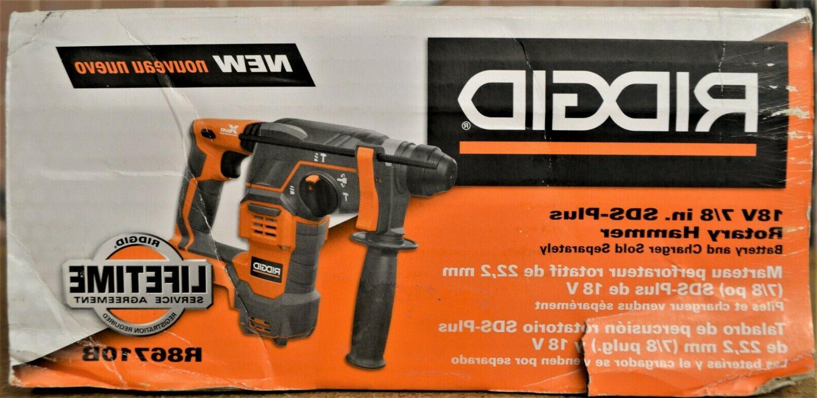 "Ridgid R86710B 18V Cordless 7/8"" SDS-Plus Hammer Drill"