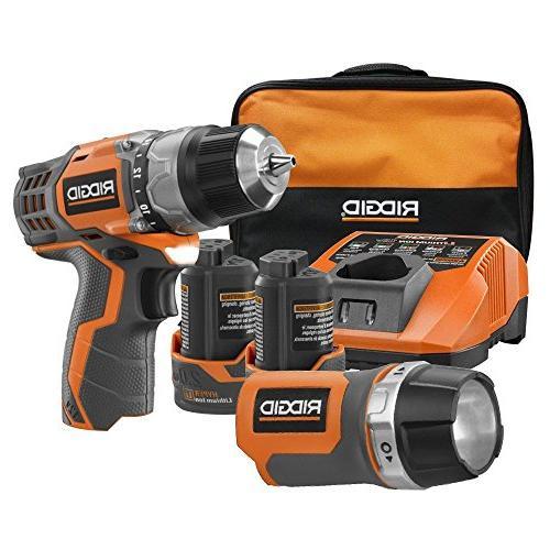Ridgid R92009 in. Cordless Drill and Flashlight