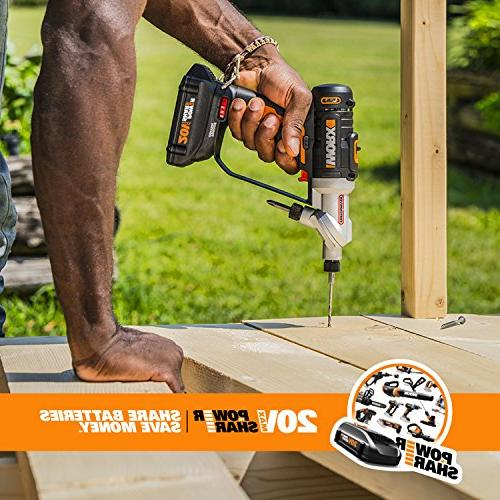 WORX 2-in-1 Cordless Drill Driver Chucks and 2-Speed with Precise Electronic Torque Control