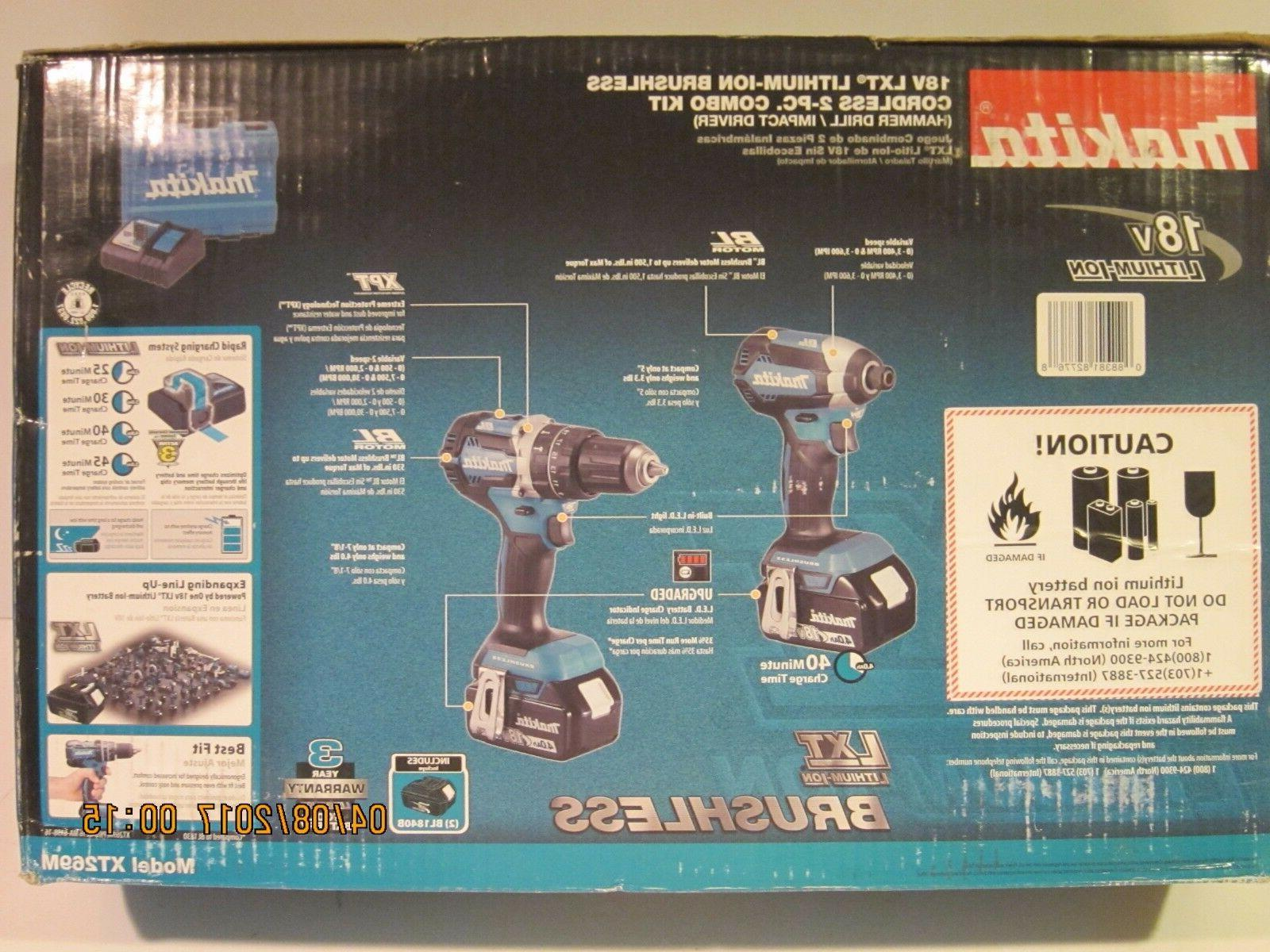Makita XT269M BL Lithium-Ion Combo Kit