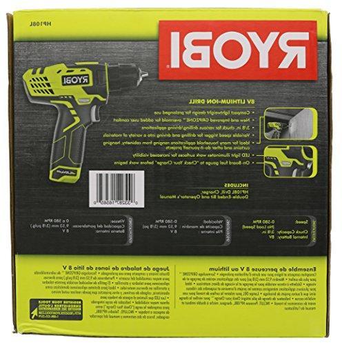"Ryobi HP108L 8 Volt Lithium Ion 3/8"" 580 / Kit"