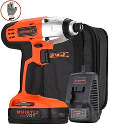 Mr.Orange 1/4 Inch 20V Lithium-Ion Cordless Impact Driver Ki