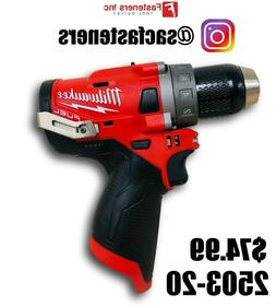"""Milwaukee M12 12V 1/2"""" Drill Driver GEN2 2503-20 New REPLACE"""