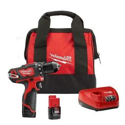 M12 Cordless 3/8 in Drill/Driver Kit 12-V Lithium-Ion W/ 2-B