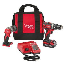 Milwaukee M18 18V Li-Ion Compact 1/2 in. Drill Kit w/LED Wor