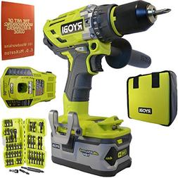 Ryobi P1813 18-Volt ONE+ Brushless Hammer Drill Kit Bundle w