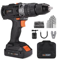 "Tacklife PCD04B 20V MAX 1/2"" Cordless Drill Driver Set with"