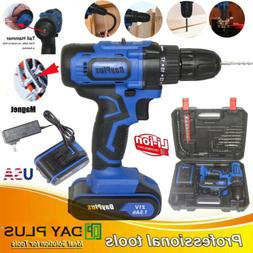 Powerful Cordless Drill Set & Screwdriver with Hammer Action